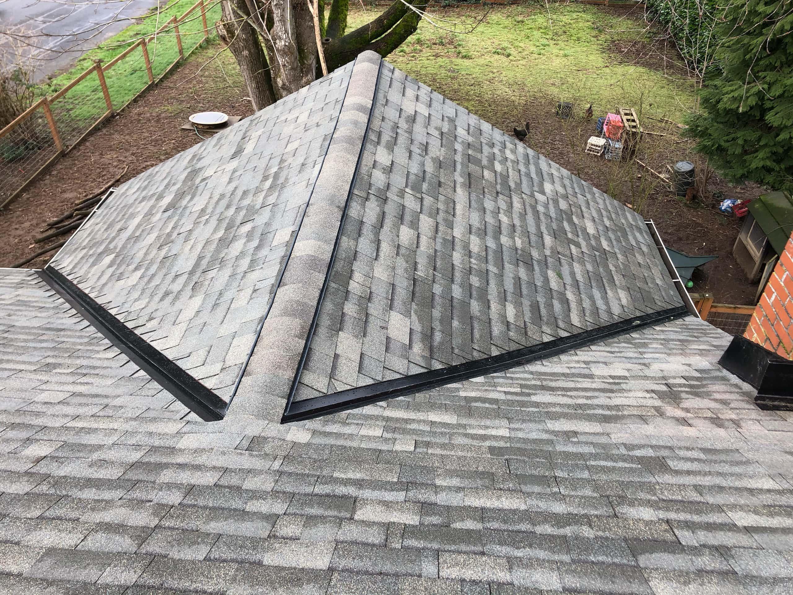 Reliance Roof Pros LLC | Beaverton | New Roof | Malarkey Legacy SG | Weather Wood | Valley