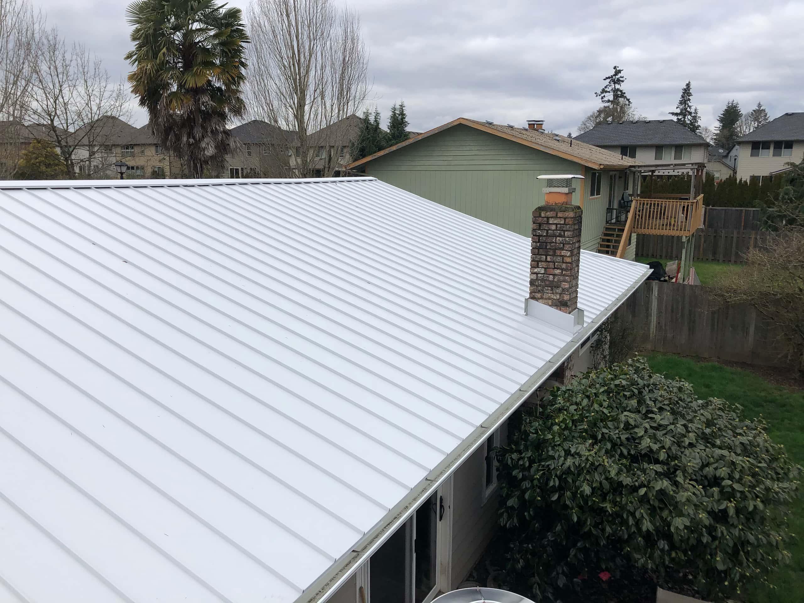 Reliance Roof Pros LLC | Beaverton | New Roof | Taylor Metal 24 Gauge Kynar | Glacier White | Chimney