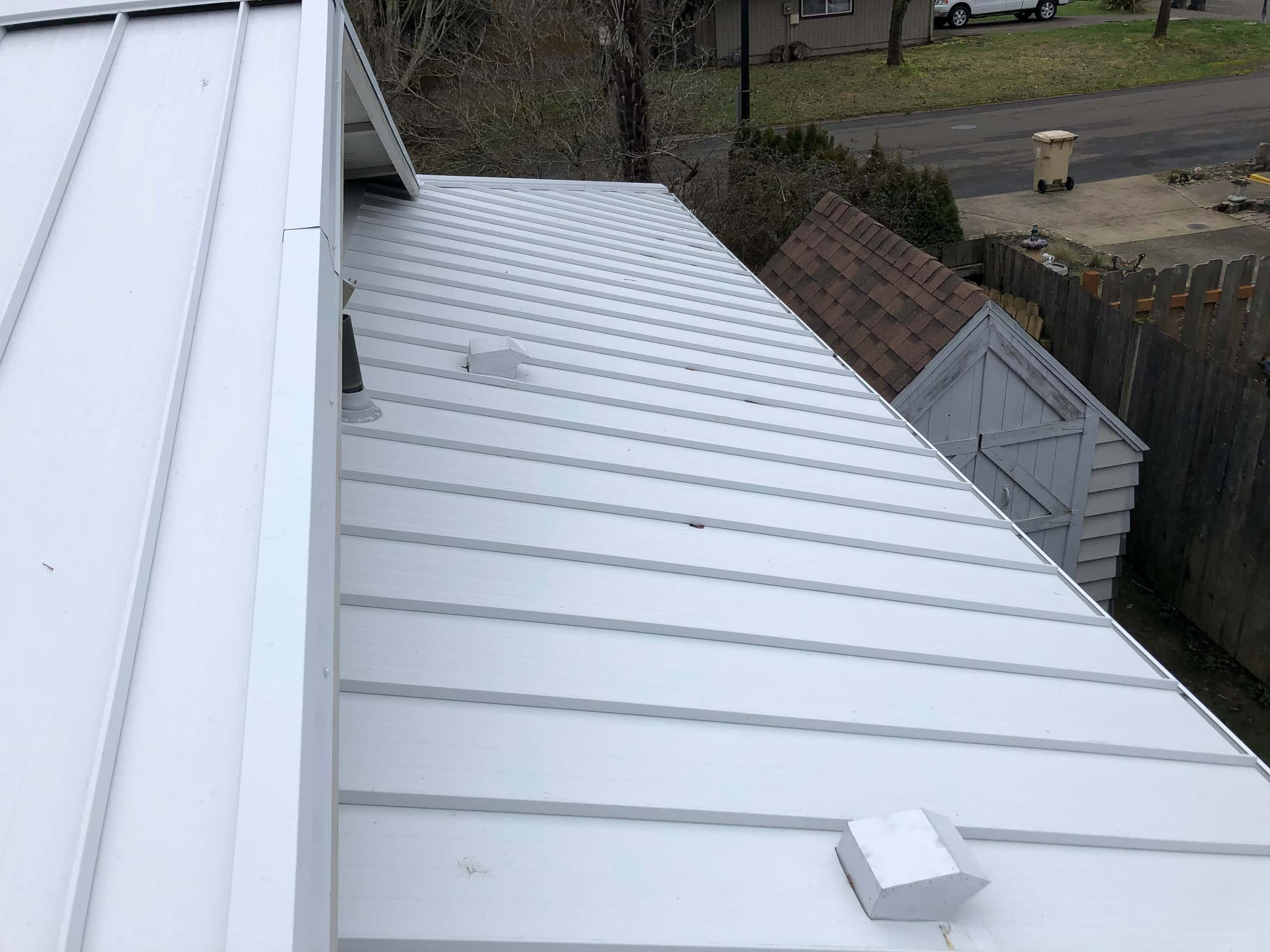 Reliance Roof Pros LLC | Beaverton | New Roof | Taylor Metal 24 Gauge Kynar | Glacier White | Dormer
