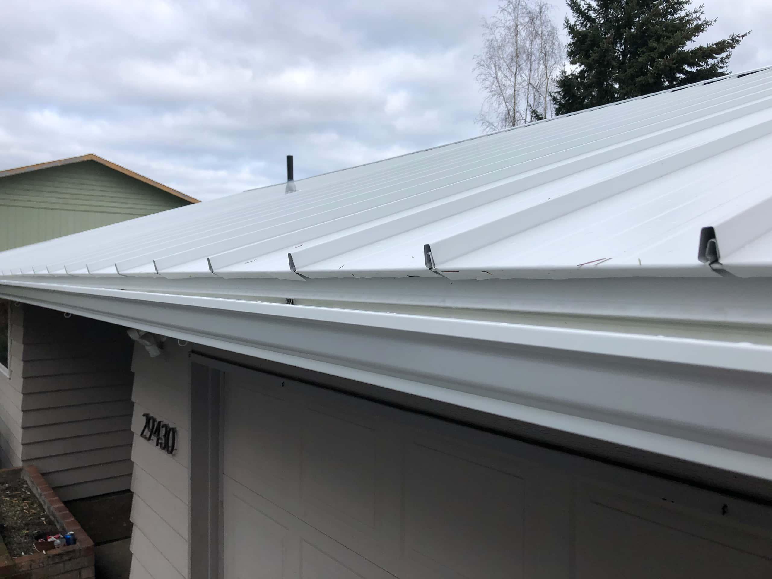 Reliance Roof Pros LLC | Beaverton | New Roof | Taylor Metal 24 Gauge Kynar | Glacier White | Gutters