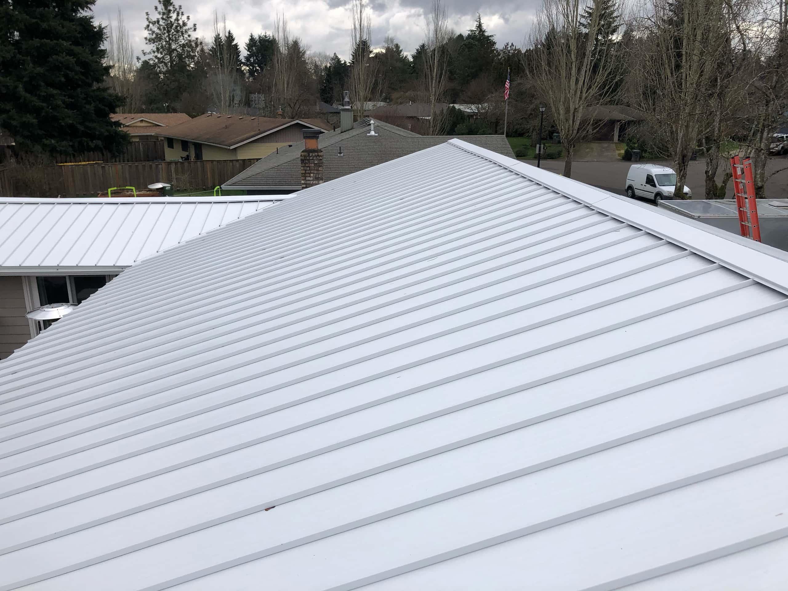 Reliance Roof Pros LLC | Beaverton | New Roof | Taylor Metal 24 Gauge Kynar | Glacier White | Side View