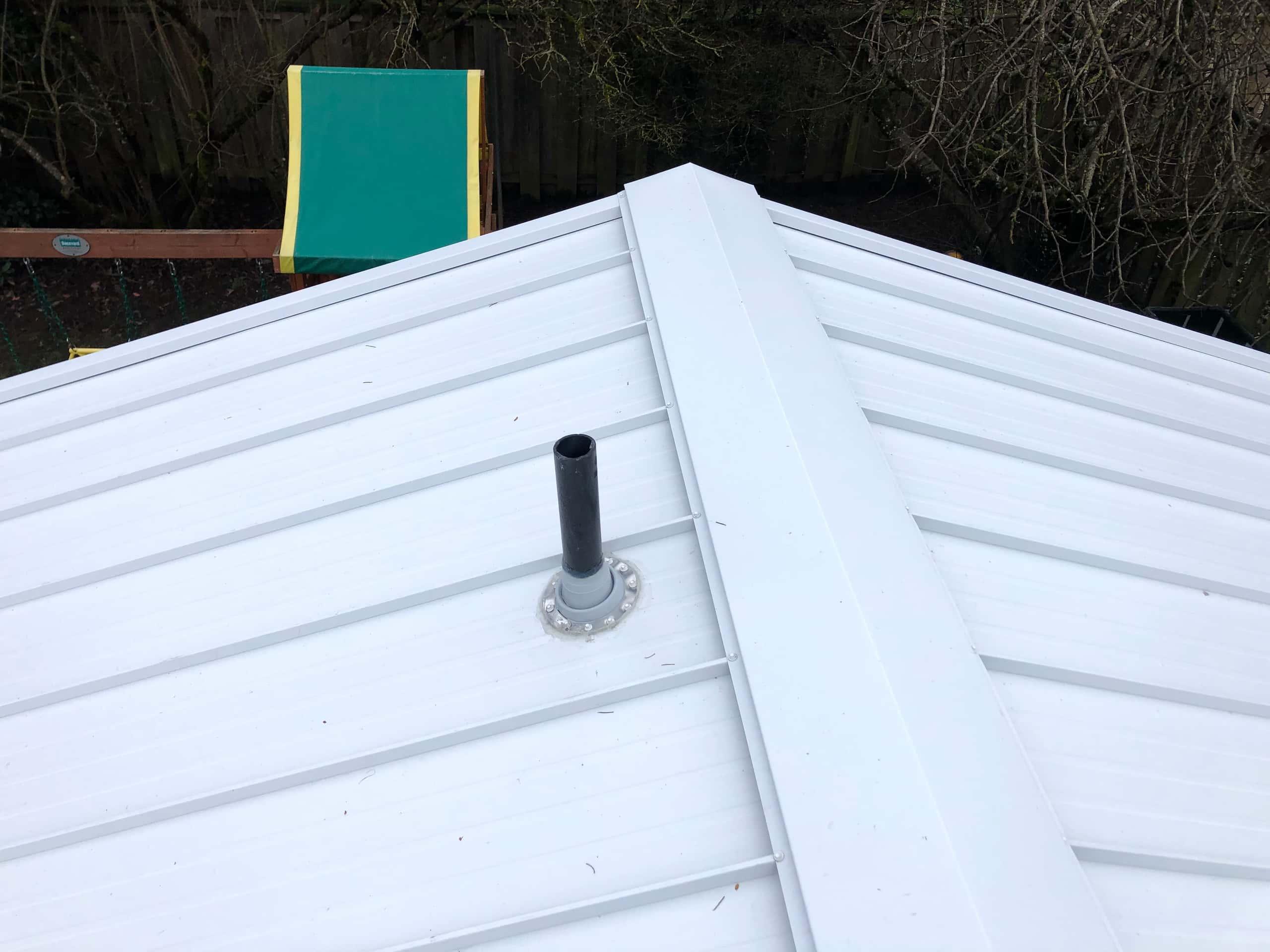 Reliance Roof Pros LLC | Beaverton | New Roof | Taylor Metal 24 Gauge Kynar | Glacier White | Vent
